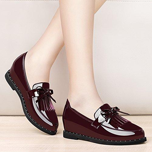 KPHY-Flache Schuhe Mehr Weibliche Lappen Britisches Patent Leder Frühjahr Schuhe Passen Im Frühjahr Leder Und Herbst Schuhe Zichao 38 Bordeaux Wein 96ac1d