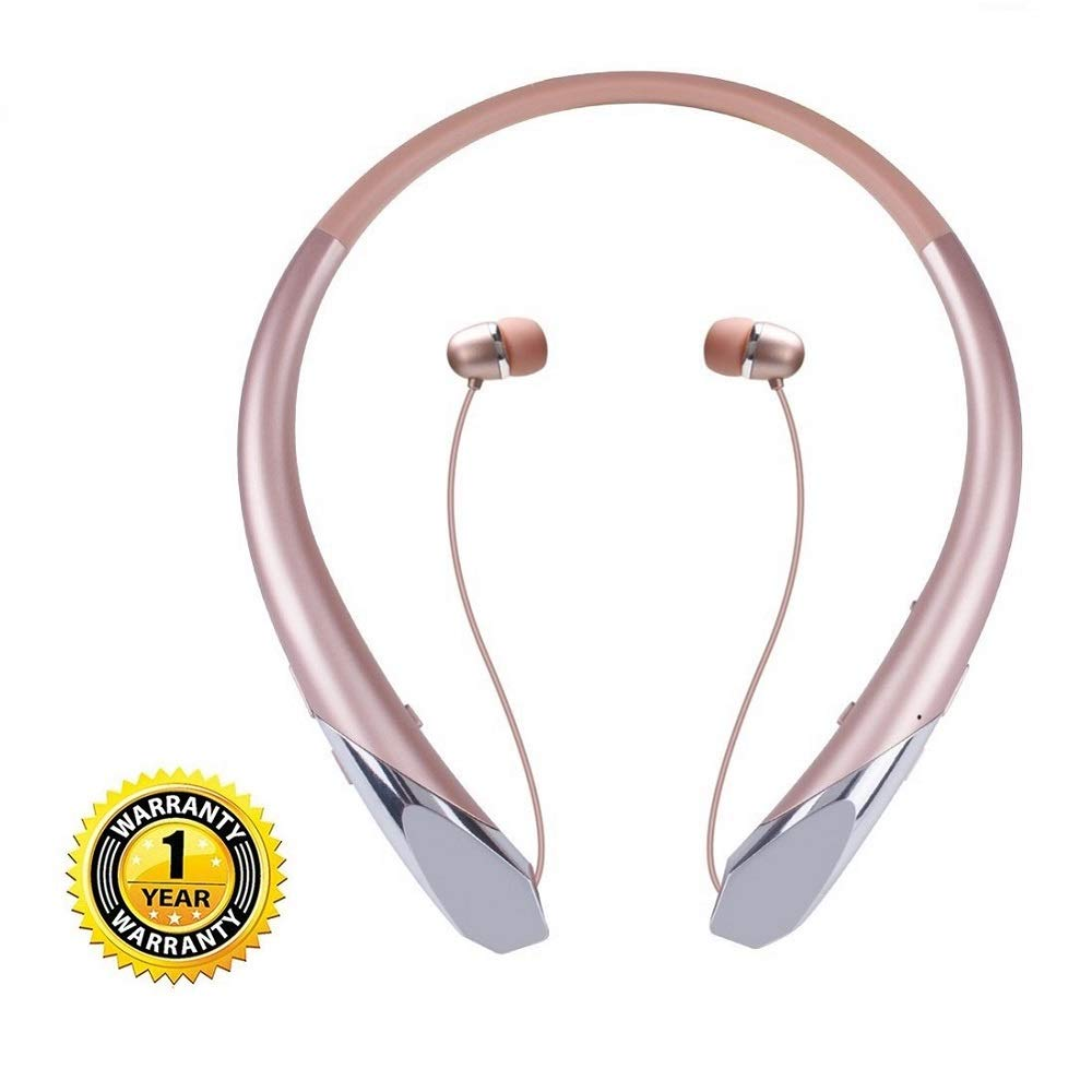 Joyphy Bluetooth Retractable Headphones, Wireless Neckband Headset Noise Cancelling Stereo Earbuds Sports Earphones with Mic (Rose Gold)