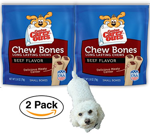 2 pack Canine Carry Outs Chew Bones Beef Flavor Dog Treats, Small - 2.8 oz