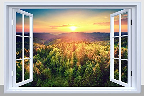 BANBERRY DESIGNS Landscape Canvas Print - LED Lighted Picture with a Mountain Sunset Scene - Landscapes Wall Art ()