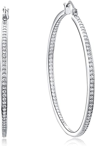 50mm Sterling Silver Gold Finish White Cubic Zirconia Hoop Earring