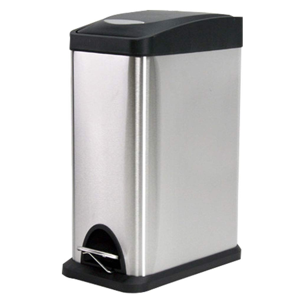 Foot Stainless Steel Trash Cans Household Stainless Steel Storage Bucket Square 15L (Color : Silver, Size : L)