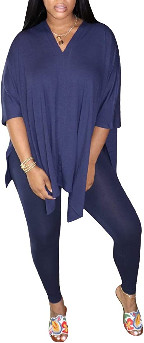Womens 2 Piece Outfits Solid V Neck High Split Loose Top Bodycon Pants Sweatsuit Loungewear
