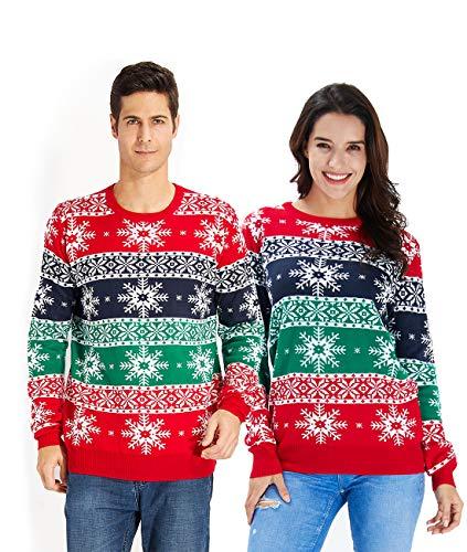 Idgreatim Men Women Ugly Christmas Pullover Sweaters Snowflake Printed Jumpers Long Sleeve Sweater Tops L