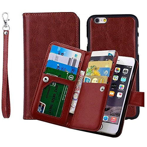 YooGoal Classic Top Grade Fashion Multifunction Unique Styles Premium PU Leather Wallet Flip Cover Case with Credit Card Holder Built-in 9 Card Slots & Wrist Strap for iPhone 7 Plus 5.5inch - Brown