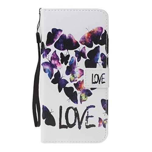 Para Samsung Galaxy J3 (2016)/J310 funda, (muchacha del globo) caja del teléfono de la PU patrón en relieve ,Función de Soporte Billetera con Tapa para Tarjetas correa de mano soporte para teléfono mariposa del amor