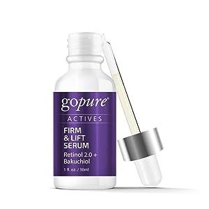 goPure Actives Firm & Lift Retinol + Bakuchiol Retinol Serum Anti Inflammatory Anti Aging Complex Antioxidant Wrinkle Paraben Free for Men & Women - Cruelty Free