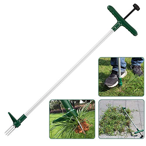 Walensee Stand Up Weeder and Weed Puller, Stand up Manual Weeder Hand Tool with 3 Claws, Stainless Steel and High Strength Foot Pedal, Weed Puller (1 Pack (Stand Up Weeder))