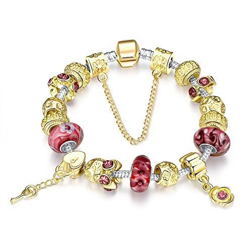 Naivo Women's Designer Inspired Crystal Snake Chain Murano Glass Beads Charm Bracelet, Standard, Gold and Milk Ruby - Glass Gold Chains Bracelets