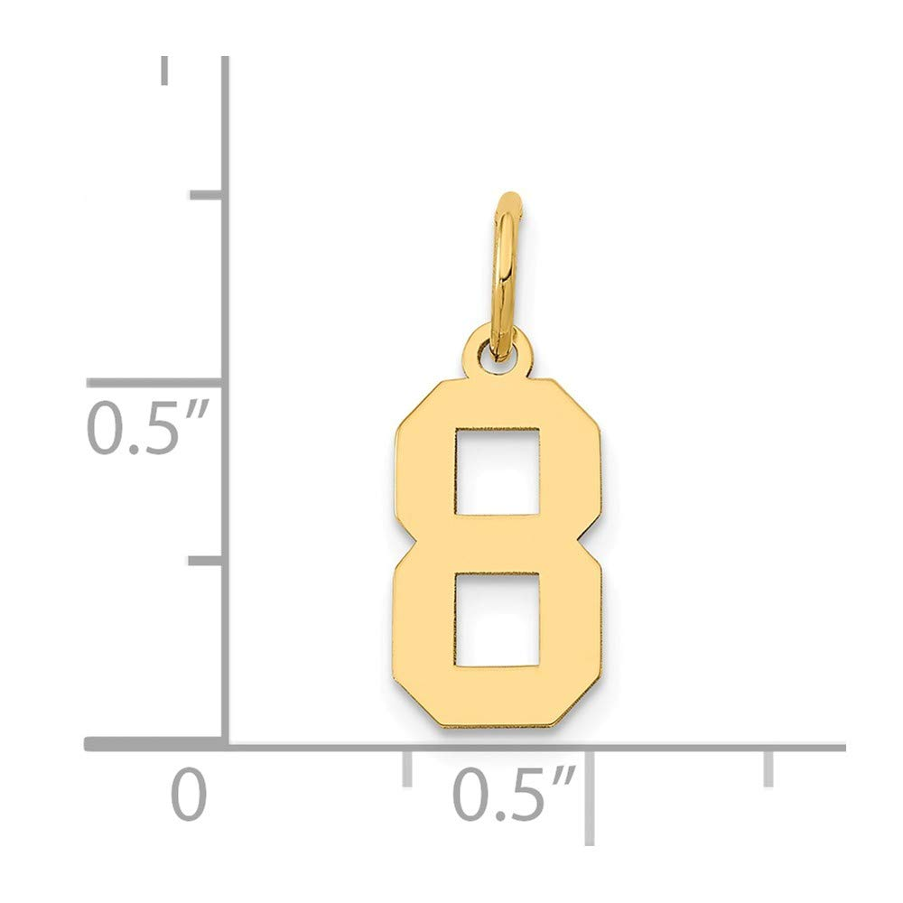 14k Yellow Gold Number 8 Charm Digit Eight Pendant Small