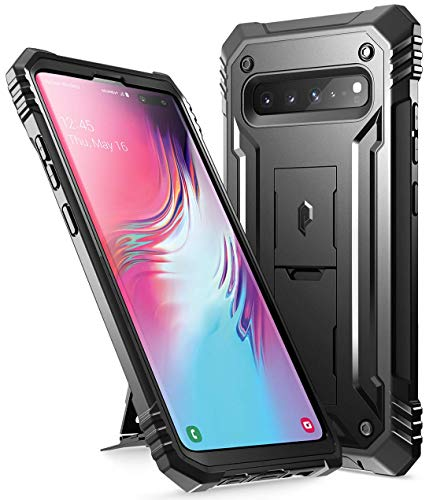 Galaxy S10 5G Rugged Case with Kickstand, Poetic Full-Body Dual-Layer Shockproof Protective Cover, Without Built-in-Screen Protector, Revolution, for Samsung Galaxy S10 5G 6.7 inch (2019), Black