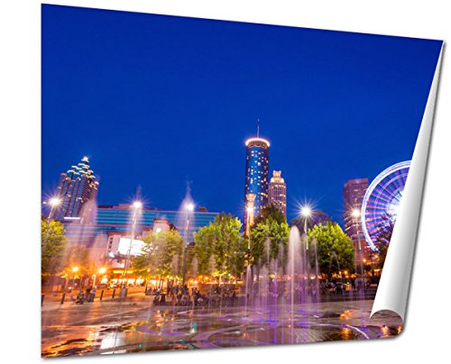 Ashley Giclee Fine Art Print, Centennial Olympic Park In Atlanta During Blue Hour After Sunset, 16x20, - Downtown Hours Plaza