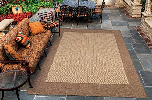 Couristan 1005/3000 Recife Checkered Field/Natural-Cocoa 7-Feet 6-Inch by 10-Feet 9-Inch Rug ()