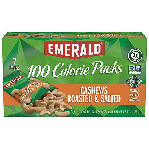 Emerald Nuts, Cashews Roasted and Salted 100 Calorie Packs, 7 Count Boxes (Pack of 12)