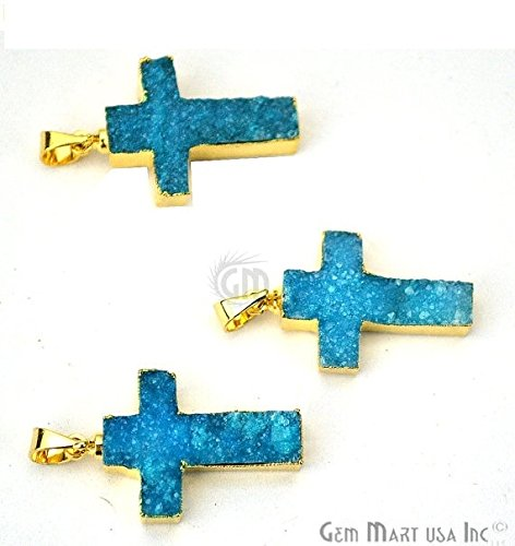 Select Your Pendant 22k Gold Electroplated Light Blue Druzy Pendant Cross Shape Druzy Gemstone Pendant (Light Blue (LEZ-50011))