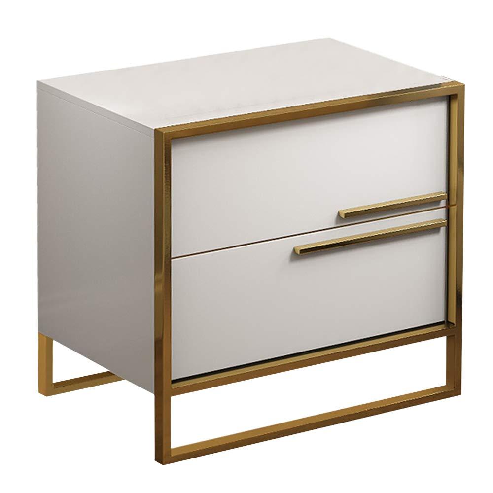 Nachttisch Nordic weiß Holz nachttisch mit 2 schubladen, Gold Edelstahl Farbe große lagerung Sofa beistelltisch, geeignet für Wohnzimmer Schlafzimmer Hotel nachttisch