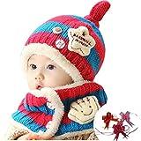 【GOLDEN EGGS】選べる4色 ニット帽子&マフラー セット リボン付き キッズ 子供用 (ピンク&ブルー)