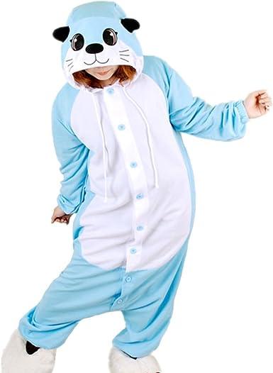 dressfan Unisex Animal Cosplay Traje Azul Nutria Pijamas Loungewear Adulto Animal Pijamas Niño adulto