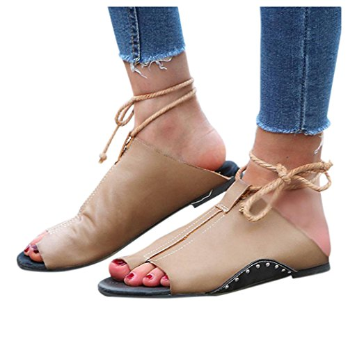 Inkach Womens Summer Sandals - Fashion Lace Up Slippers Flip-Flops Ankle Flat Straps Shoes Khaki