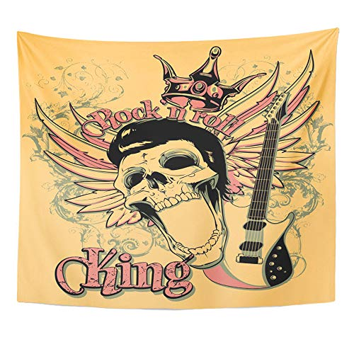 Emvency Tapestry Wall Hanging Skull Rock and Roll King Artistic Star Vintage Acoustics Chord Classical Club 50