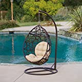 Modern Metal Tear Drop Shape Wicker Chair Swing with Plush Cushion and Metal Base - Includes Modhaus Living Pen