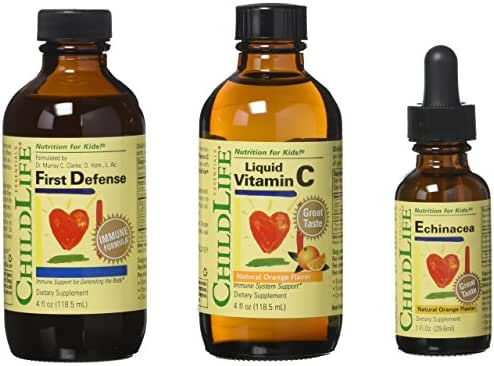 ChildLife Essentials 3 Pack Immune Support for Infants, Babys, Kids, Toddlers, Children, and Teens: First Defense, Vitamin C Immune Support, Echinacea