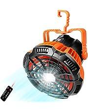 Tomshin Ventilador de acampamento 2 em 1 Lanterna de pendurar Ventilador de barraca Lanterna de banco de energia Ventilador de barraca para camping de pesca