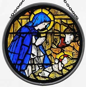 Decorative Hand Painted Stained Glass Window Sun Catcher Roundel in a Madonna and Child Design.