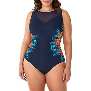 7b5eb278646 Miraclesuit Women s Swimwear Plus Size Samoan Sunset Fascination Tummy  Control High Neckline Underwire Bra One Piece