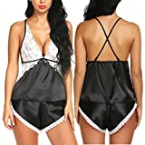Chomoleza Women Sleepwear Satin Pajamas Set Lace Cami Short Set Sexy Nightwear
