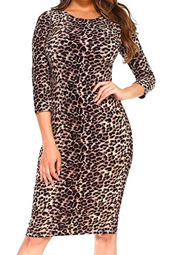 ICONOFLASH Women's Plus Size Leopard Print 3/4 Sleeve Bodycon Midi Dress – Crew Neck Fitted Dress 2X-Large