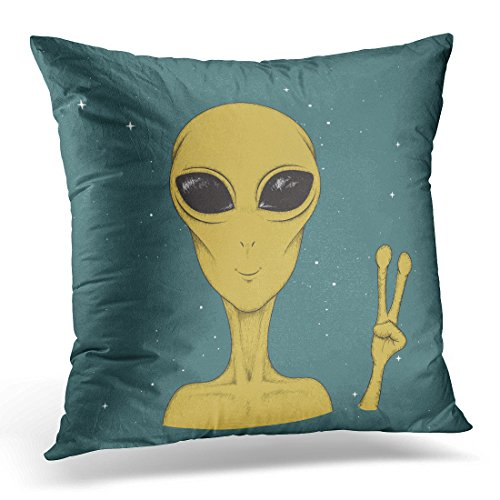 Golee Throw Pillow Cover Drawing Alien Martian Showing Peace Sign Closeup Extraterrestrial Invasion Concept Sketch Invader Decorative Pillow Case Home Decor Square 18x18 Inches Pillowcase