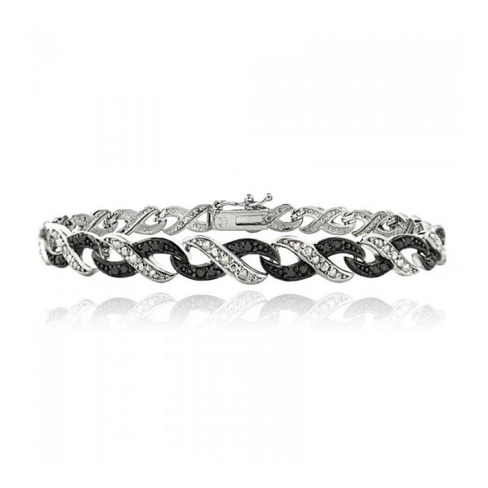 1/2ct Black & White Diamond Infinity Silver Tone Bracelet Glitzs BBR13790M