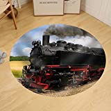 Gzhihine Custom round floor mat Steam Train with Black Smoke Running on Island Rugen Northern Germany