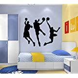 """DNVEN Black 53"""" w X 32"""" h Vinyl Basketball Three Basketball Players Slam Dunk Silhouette Wall Decals Stickers for Boy Rooms"""