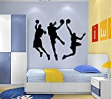 Dnven (Black 53'w X 32'h) Vinyl Basketball Three Basketball Players Slam Dunk Silhouette Wall Decals Stickers for Boy Rooms