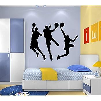 Dnven (Black 53 w X 32 h) Vinyl Basketball Three Basketball Players & Amazon.com: Boodecal DIY Vinyl Basketball Players Slam Dunk ...