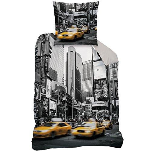 Wende Bettwäsche Set New York, 135 x 200 cm 80 x 80 cm , 100% Baumwolle, Linon, CTI