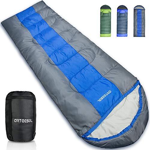 arteesol Schlafsack - 216 * 73cm Mumienschlafsack leicht Schlafsack für Outdoor Camping im Sommer Winter