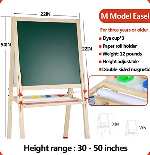 """Easel For Kids With Paper Roll And Accessories,Double Sided Magnetic Drawing Boardl For Toddlers,Magnetic Chalk Board & Magnetic Dry Erase Board Height Adjustable (M=50"""")"""