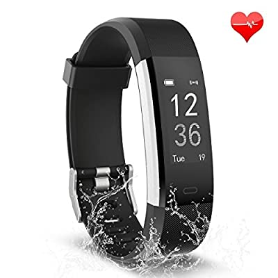 Fitness Tracker, Waterproof Activity Tracker with Heart Rate Monitor Bluetooth Smart Watch Wireless Smart Bracelet Sleep Monitor Pedometer Wristband for Android and iOS Smartphone