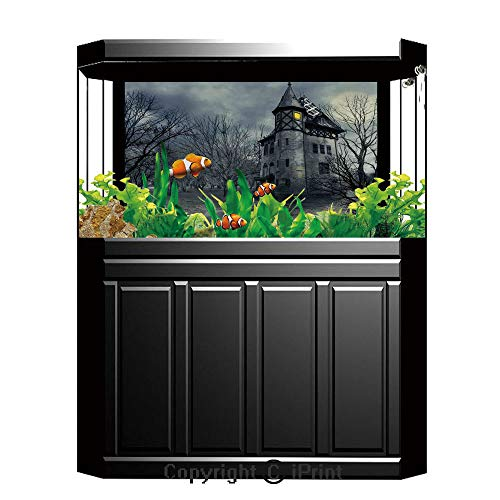 Terrarium Fish Tank Background,Halloween,Halloween Design with Gothic Haunted House Dark Sky and Leafless Trees Spooky Theme Decorative,Teal,Photography Backdrop for Pictures Party Decoration,W48.03