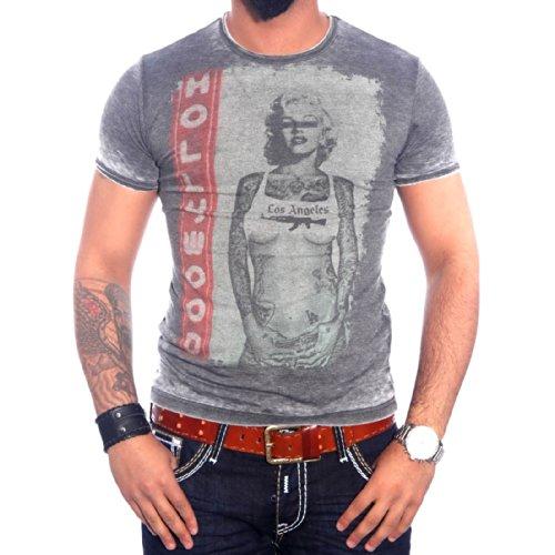 R-NEAL Clubwear Kurzarm Herren T-Shirt Washed Optik Shirt RTN-16709 NEU, Größe:M, Farbe:Anthrazit