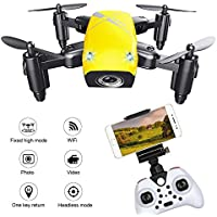 S9 Foldable WIFI RC Drone Quadcopter with 0.3MP HD Camera 6-Axis Altitude Hold Live Transmission Headless Mode One Key Return Function Fun Toy Gifts (Yellow)
