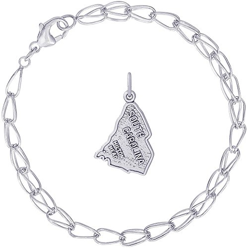 Head Collection Hilton - Rembrandt Charms Sterling Silver Hilton Head South Carolina Map Charm on a Double Twist Bracelet, 7