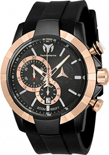 Technomarine Men's UF6 Stainless Steel Quartz Watch with Silicone Strap, Black, 29 (Model: TM-615014)
