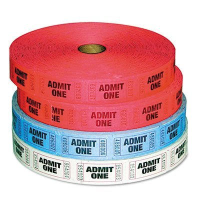 Admit-One Ticket Multi-Pack, 4 Rolls, 2 Red, 1 Blue, 1 White, 2000/Roll, Sold as 4 Roll ()