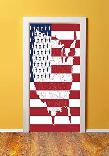 American Flag Decor 3D Door Sticker Wall Decals Mural Wallpaper,America Continent Shaped Flag Martial International World Glory Print,DIY Art Home Decor Poster Decoration 30.3x78.18123,Navy Red ()