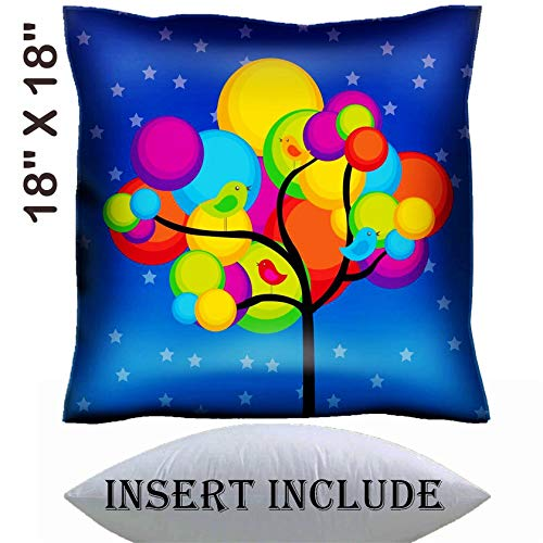 18x18 Throw Pillow Cover with Insert - Satin Polyester Pillow Case Decorative Euro Sham Cushion for Couch Bedroom Handmade IMAGE ID: 10032995 violet red yellow green green tree over blue and white