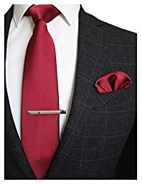 JEMYGINS Solid Color Formal Necktie and Pocket Square Tie Clip Sets for Men